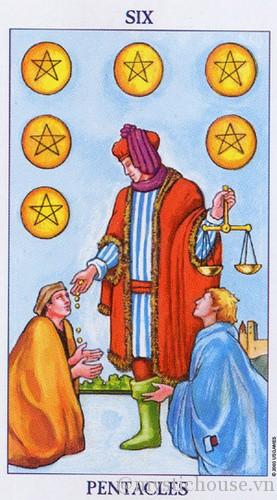 cảm nhận lá bài tarot six of Pentacles