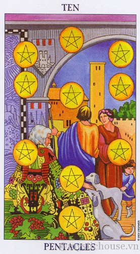 cảm nhận lá bài tarot ten of Pentacles