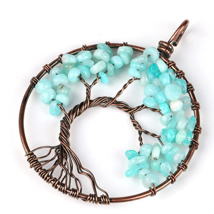 Mặt Dây Chuyền Tree of Life Aquamarine 1