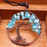 Mặt Dây Chuyền Tree of Life Aquamarine
