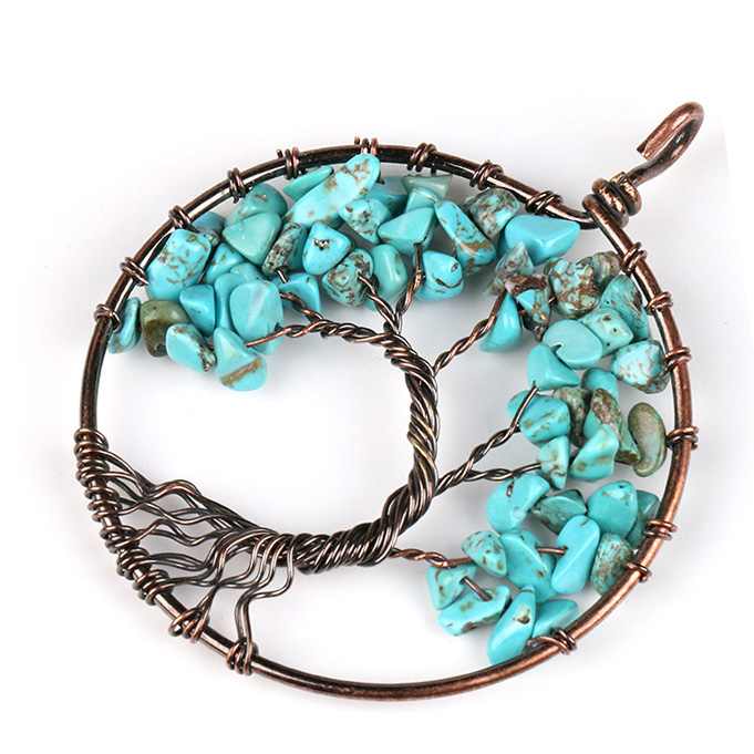 Mặt Dây Chuyền Tree of Life Blue Turquoise 1